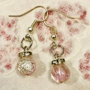 Mini Ornament Earrings Silver & Pink Crackle Beads